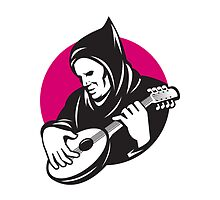 Hooded Man Playing Banjo Guitar by patrimonio