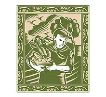 Organic Farmer With Basket Harvest Crops Retro by patrimonio
