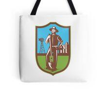 Farmer With Spade Windmill Farm Barn Retro Tote Bag