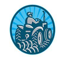 Farmer Plowing With Tractor Retro by patrimonio