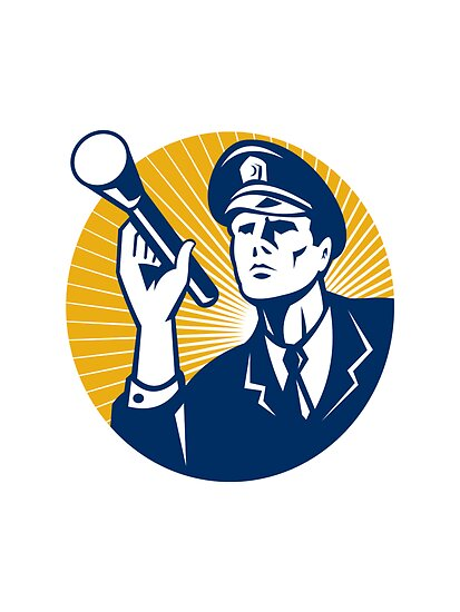 Policeman Security Guard With Flashlight Retro by patrimonio