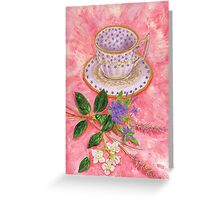 Tea with a floral bouquet Greeting Card
