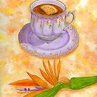 Tea with orange and bird of paradise flowers by didielicious