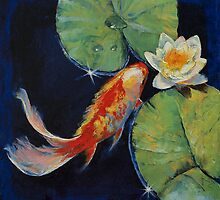 Koi and White Lily by Michael Creese