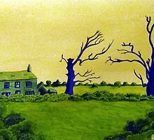 353 - LAVEROCK HALL FARM, NORTHUMBERLAND - DAVE EDWARDS - WATERCOLOUR & COLOURED PENCILS - 2012 by BLYTHART