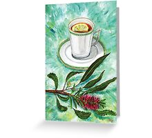 let's have tea with red grevillea and lemon Greeting Card