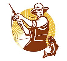 Fly Fisherman Fishing Retro Woodcut by patrimonio