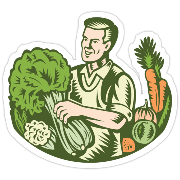 Organic Farmer Green Grocer With Vegetables Retro by patrimonio
