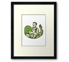 Organic Farmer Green Grocer With Vegetables Retro Framed Print