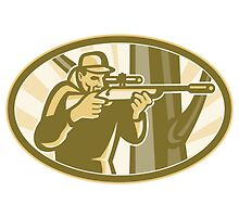 Hunter Shooter Aiming Telescope Rifle Retro by patrimonio
