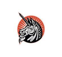 Angry Unicorn Head Retro Woodcut Photographic Print