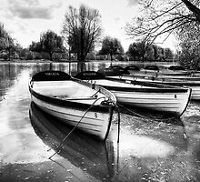 Shakespeare's boats at Stratford upon Avon in monochrome by Elana Bailey