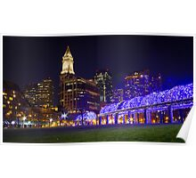 Christopher Columbus Park, Boston, Night Poster