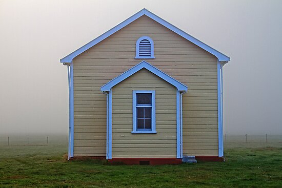 Rural Church in Fog by Robyn Carter