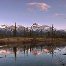 Sunset Over Mount Peskett at Kootenay Plains by Alex Preiss
