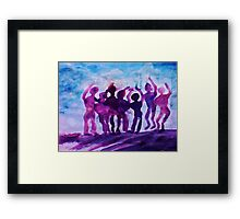 Cheering on the team, watercolor Framed Print
