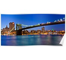 New York Brooklyn Bridge at Night Poster