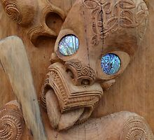 Maori wood carving with paua shell eyes by lostrider