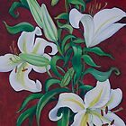 Red with White Lillies By Gillian Toft by gilliantoft