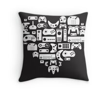 Controller Lover (White on Black) Throw Pillow