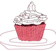 Red Velvet Vegan Cupcake by cmIllustration