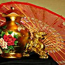 Chinese Decor On the Buffet Table, A Dragon, Parasol and Rose Vase by Jane Neill-Hancock