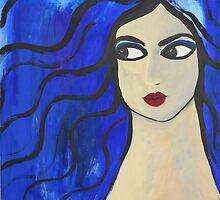 """Bleu Portrait"" (40x30 inch.) Tempera & Acrylic/ Paper/ Framed. by Gaby Rico"
