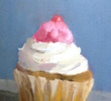 vanilla cupcake with white icing and a cherry on top by joycecolburn