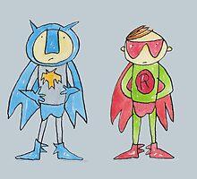 Batman and Robin Superheroes by AndyLanhamArt