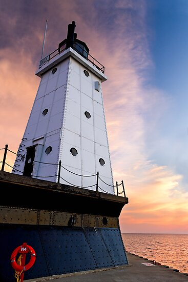 Sunset Sky with Ludington (Michigan) North Breakwater Light by Kenneth Keifer