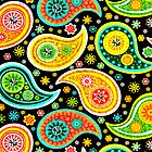 Colorful Abstract Retro Paisley Pattern by artonwear