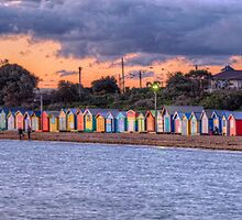 Brighton Beach Bathing Boxes by Chris Mitchell