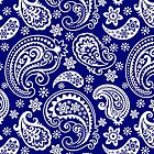 Blue And White Vintage Paisley Design by artonwear