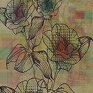 Brown And Beige Rustic Retro Flowers Design by artonwear