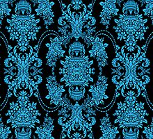 Black And Blue Ornate Vintage Baroque Floral Pattern by artonwear