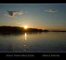 Sunset on the Tanana - - Posters & More by Maria A. Barnowl