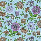 Colorful Retro Floral Collage On Blue Background by artonwear