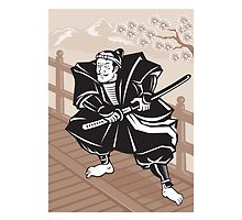 Japanese Samurai warrior sword on bridge by patrimonio