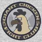 Giant Chicken Fight Club - vintage blue by Benjamin Whealing