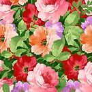 Colorful Assorted Flowers Collage Illustration by artonwear
