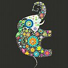 Colorful Retro Floral Elephant Design by artonwear