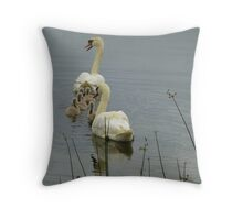 Swans And Cygnets Throw Pillow