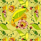 Abstract Yellow Tones Retro Flowers Collage by artonwear