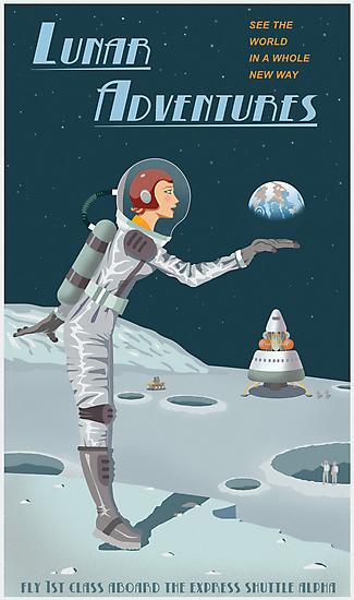 Moon Travel Poster by stevethomasart