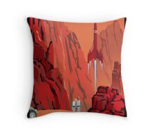 Mars Travel Poster Throw Pillow