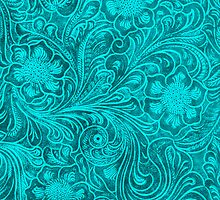Turquoise Leather Look-Embossed Floral Design by artonwear