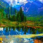 Photo Montage-Mountain Lake Landscape by artonwear