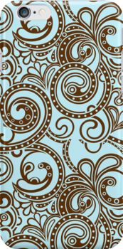 Brown And Blue Abstract Ornate Random Swirls by artonwear