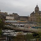 Waverly train station and clocktower in Edinburgh by ashishagarwal74