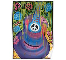 Peace Guitar - Hippie Abstract Art Poster